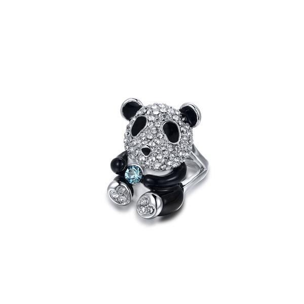 Bague Panda orné de cristaux de Swarovski Blanc et Noir - T56