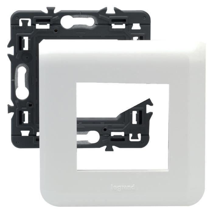 LEGRAND Plaque support fixation à vis 2 modules Mosaic blanc (Lot de 3)