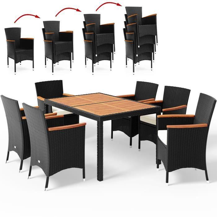 Salon de jardin en polyrotin noir Verona 6+1 table et chaises empilables coussins 7 cm ensemble de jardin meuble de jardin extérieur