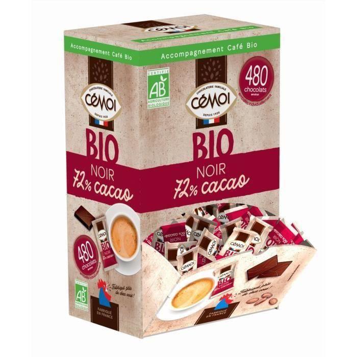 CEMOI Napolitain - Chocolat noir 72% de cacao environ 480 pièces* - Bio - 1,2 kg