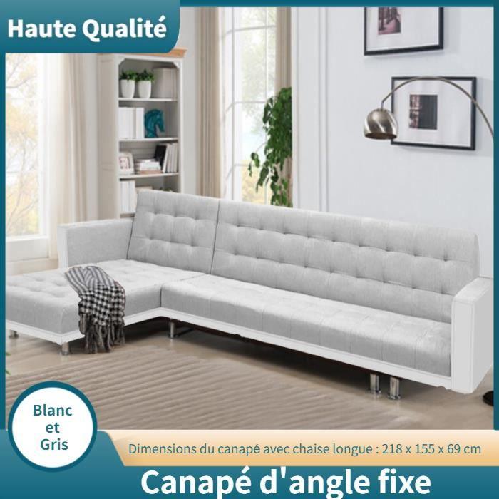 Canapé d'angle 3 places Blanc Tissu Pas cher