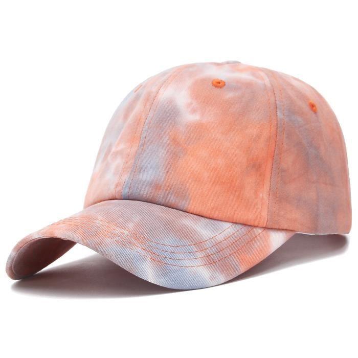 GEMVIE Casquette Baseball Tie-Dye Femme Vintage Chapeau Anti-Soleil Pliable Casquette Visière Respirable Élégant Printemps Orange