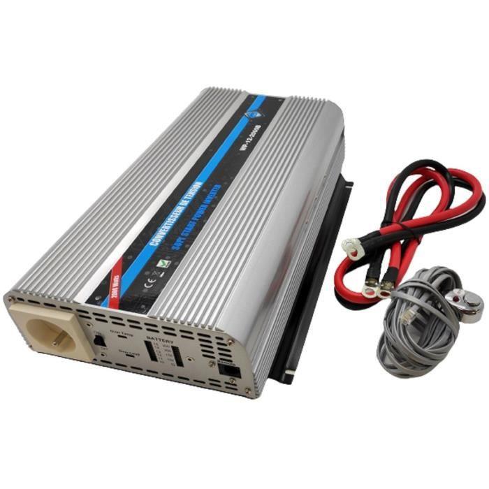 Convertisseur de tension 12/220V 2000W avec télécommande et câbles Batterie