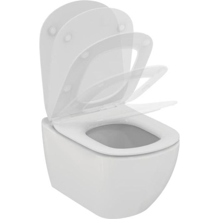 Ideal standard Pack WC suspendu Tesi Aquablade fixations invisibles abattant ultrafin frein de chute réf T354601