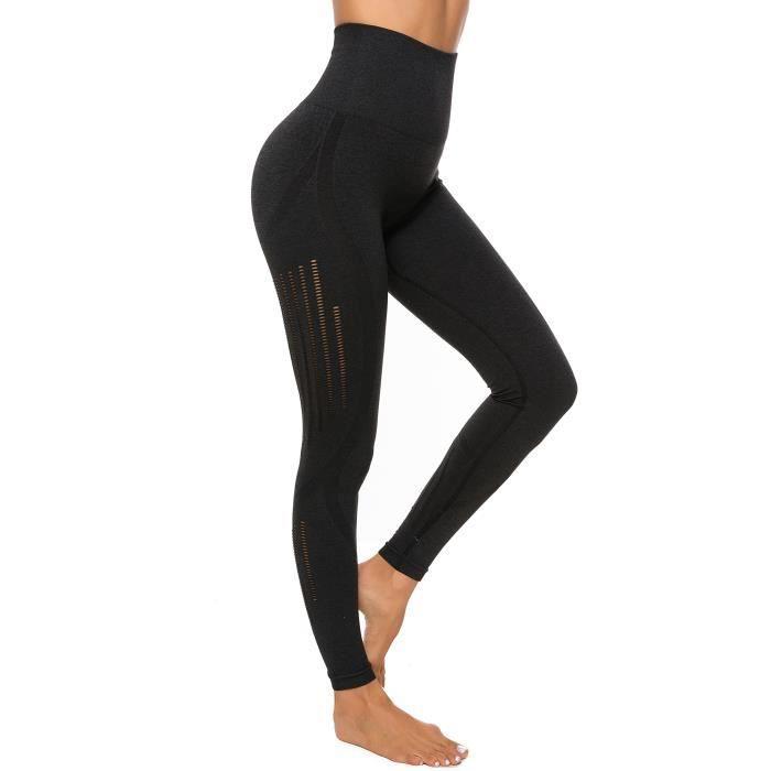 FITTOO Legging Sport Femme Noir Sexy Pantalon Yoga Confortable Elastique Taille Haute Collant Basique Amincissant KQ2040