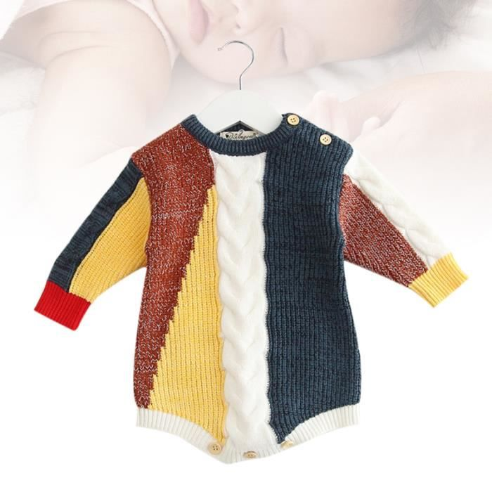 1 PC Infant Art Stitching À Tricoter Manches Longues Automne D'hiver Vêtements Enfant Pour Bébé Enfants - CHANDAIL