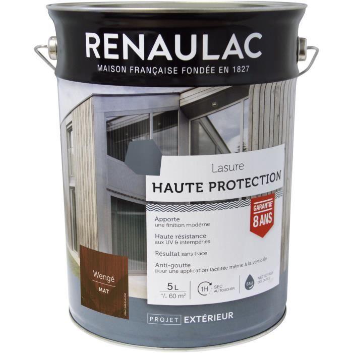 RENAULAC Lasure haute protection Wenge - Garantie 8 ans - 5L - 60m² / pôt