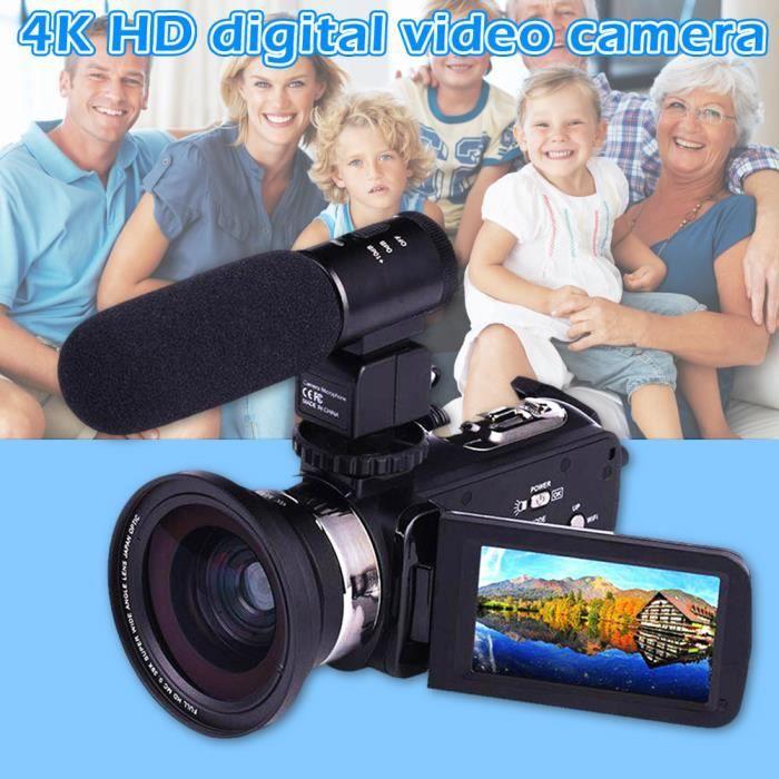 ROKOO 4K 1080P Caméra Vidéo Numérique Caméscope enregistreur Écran tactile Grand Angle Macro Microphone Externe