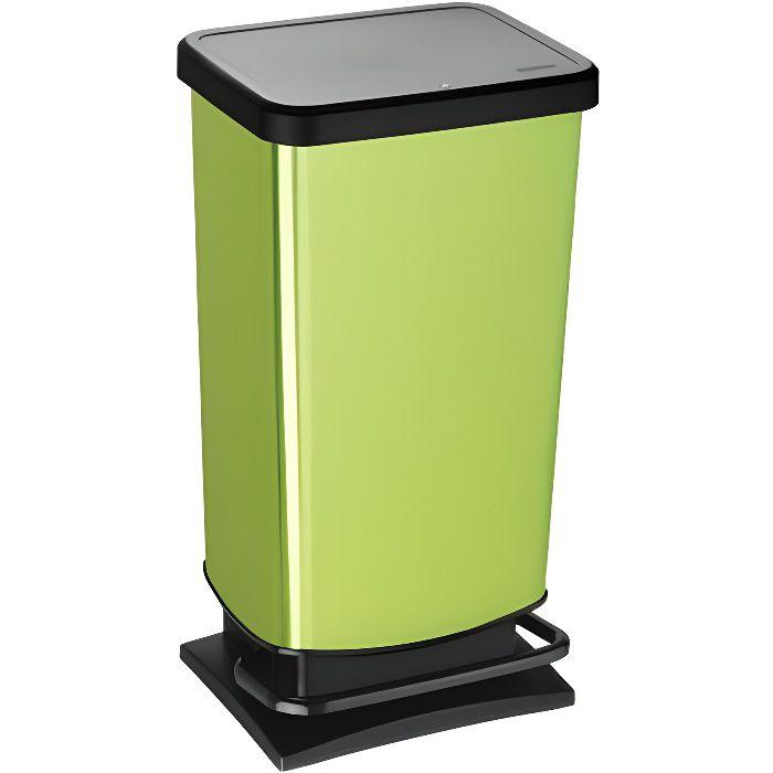 ROTHO Poubelle à pédale PASO 40 litres carré vert métallisé - Poubelle pour une élimination facile des déchets