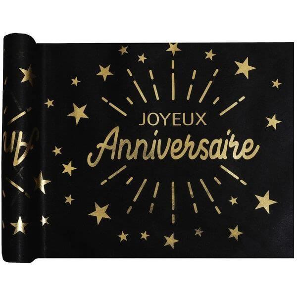 R/6646 - 1 Chemin de table joyeux anniversaire noir et or métallique 5m