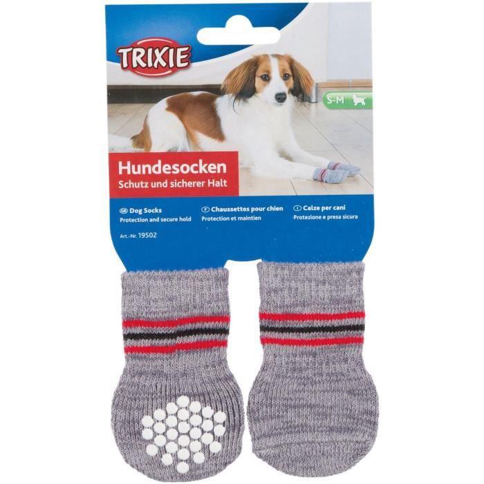 TRIXIE Lot de 2 Chaussettes antidérapant - XL - Gris - Pour chien