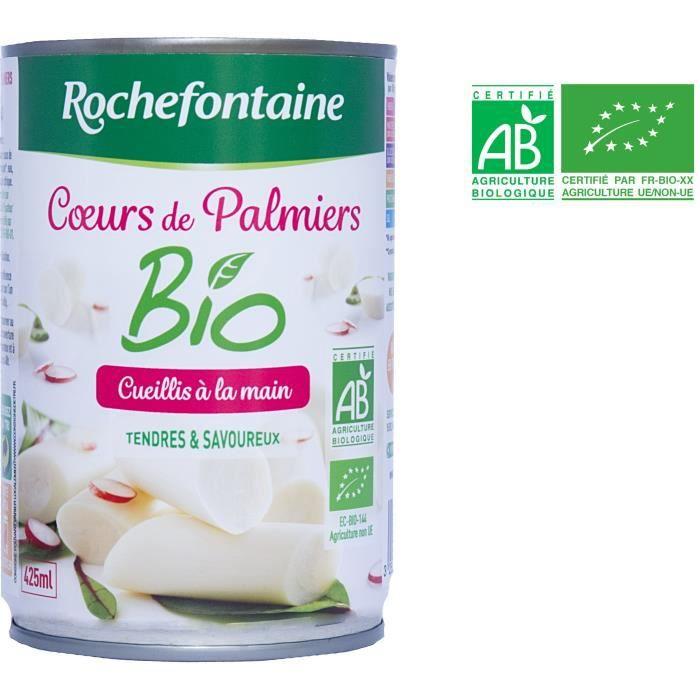 ROCHEFONTAINE Cœurs de palmier bio - Cueillis à la main - 400 g