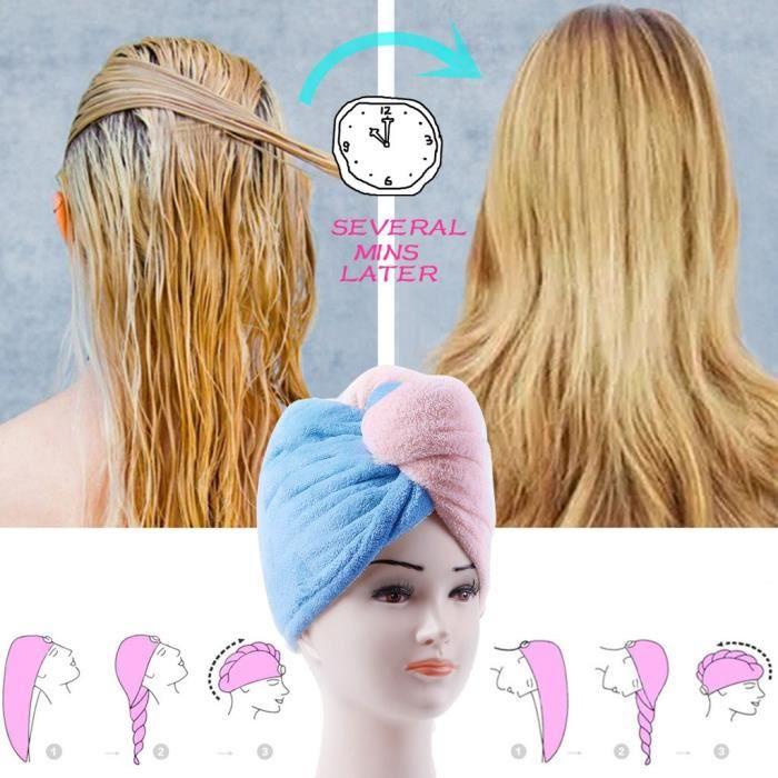 Serviette Pour Cheveux à Séchage Rapide Serviette Enveloppée En Microfibre Quick Magic Hair Hair Dry Achat Vente Serviettes De Bain Cdiscount