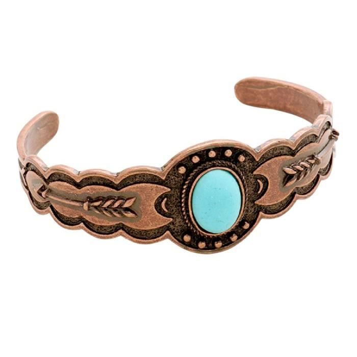 Womens Turquoise And Arrow Boho Cuff Bracelet QUQZN