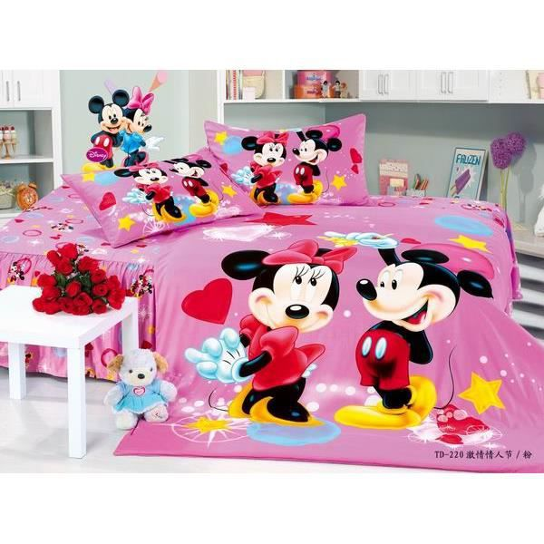 parure de lit enfant mickey mouse 100 coton achat vente parure de couette cdiscount. Black Bedroom Furniture Sets. Home Design Ideas