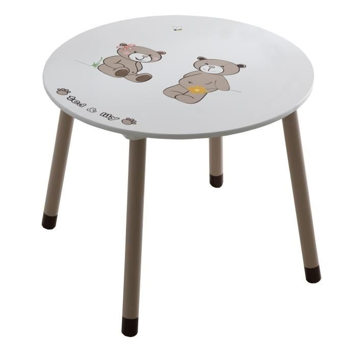 Ted et lily table ronde chocolat et beige achat vente for Table et chaise bebe 2 ans