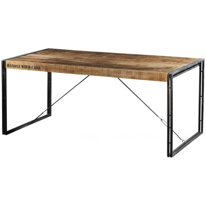 table industrielle rectangulaire acacia m tal l200 achat vente table a manger seule table. Black Bedroom Furniture Sets. Home Design Ideas