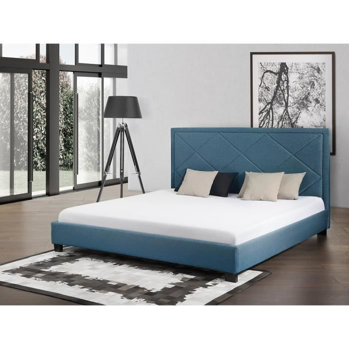 lit en tissu lit double bleu fonc sommier inclus 160x200 cm marseille achat vente. Black Bedroom Furniture Sets. Home Design Ideas