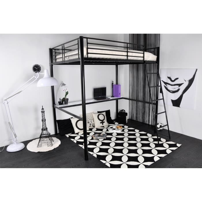 lit mezzanine 140x190 tablette en m tal noir achat vente lit mezzanine lit mezzanine. Black Bedroom Furniture Sets. Home Design Ideas