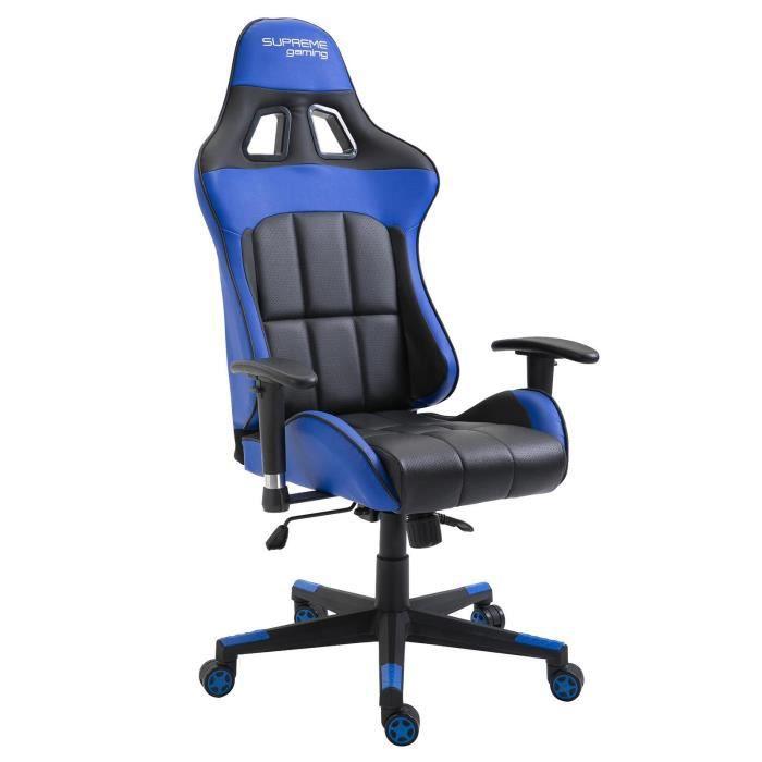 Chaise Bureau Fauteuil Siége Racing Gamer Sport Ordinateur Accoudoir Bleu Racer