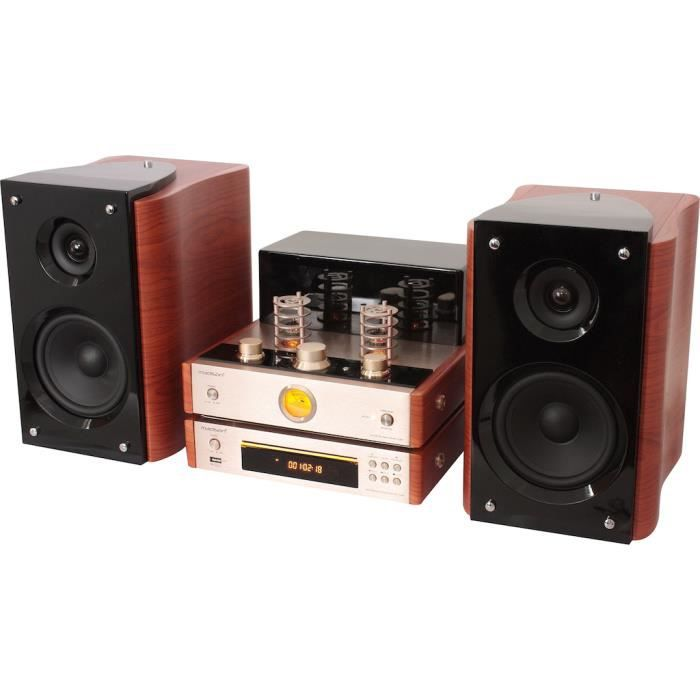 ampli tubes lampes vintage 2 enceintes bois lecteur cd chaine hifi bluetooth usb tuner fm. Black Bedroom Furniture Sets. Home Design Ideas