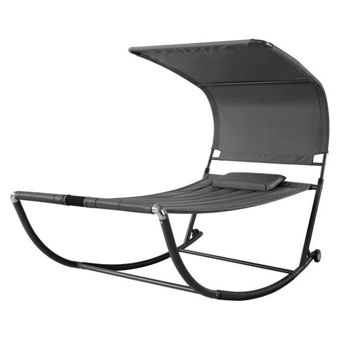 SoBuy® OGS44-DG Transat de Jardin Transat à Bascule avec Pare-Soleil et 2  roulettes Chaise Longue à Bascule Bain de Soleil
