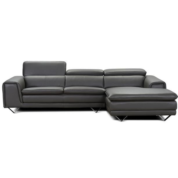 canap d 39 angle en cuir viaggio gris achat vente canap sofa div. Black Bedroom Furniture Sets. Home Design Ideas