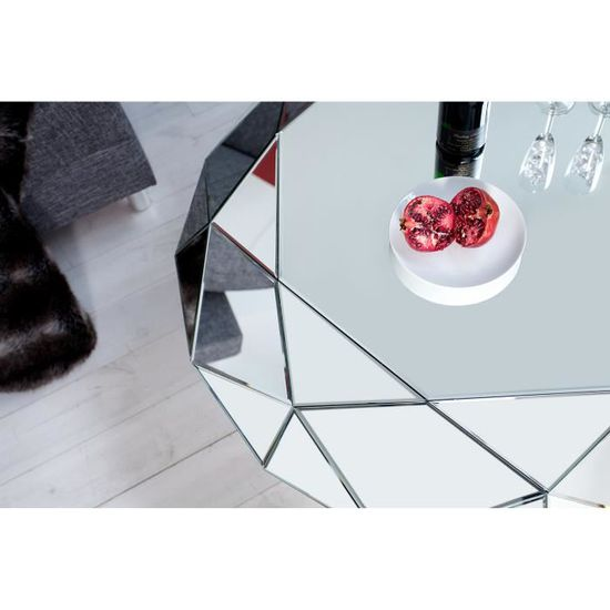 table basse design diamant en verre transparent