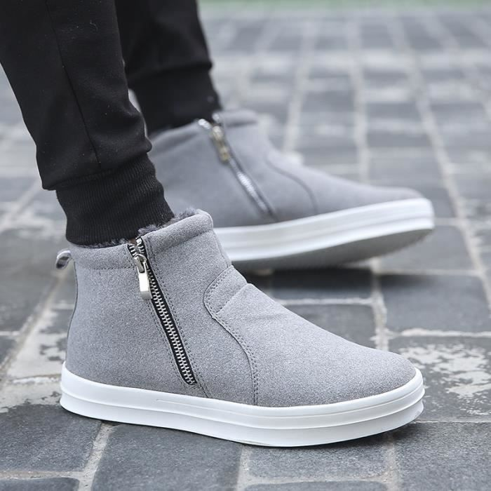 Boot Court Tirettes Gris Hiver Homme Botte Chaud Jaune Double Taille8 UXZaWgq