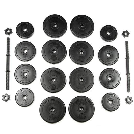 Set de 2 Halt/ères Courts 30 kg 2 Barres et 16 Disques Plastiques Physionics