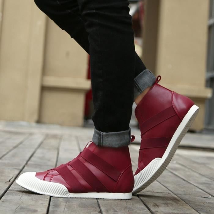 Botte Homme Korean StyleTendance High Top plates rouge taille9.5