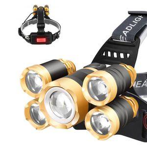 LAMPE - LANTERNE Lampe Frontale Puissante avec 5 LED de 8000 lumens