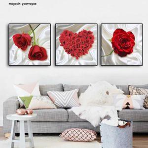 OBJET DÉCORATION MURALE Fleur Rose Toile Peinture Affiches Et Estampes Mur
