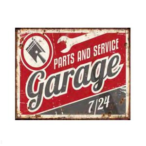 Plaque d corative en m tal parts service garage rouge for Plaque murale decorative metal