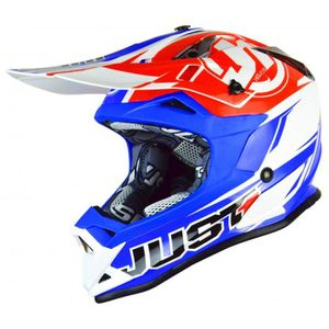 CASQUE MOTO SCOOTER JUST1 J32 Casque Cross Bleu Rouge - Taille M58
