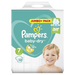 COUCHE Pampers Baby-Dry Taille 7, 15+ kg, 58 Couches - Ju