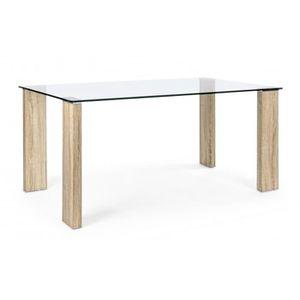 TABLE À MANGER SEULE Table rectangulaire en verre coloris naturel - L 1