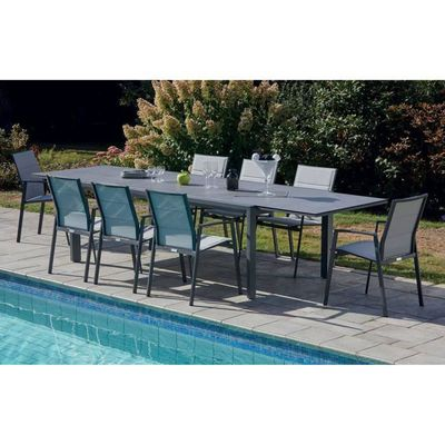 Table de jardin extensible en aluminium ardoise - Dim : 220-340 x 100 x  h74cm