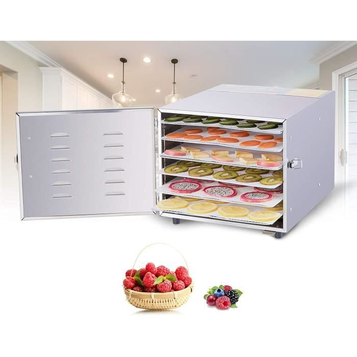 6 Étages Déshydrateur Alimentaire, Machine Électrique Deshydrateur, Déshydrateur d'Aliments Secs de Fruits et de Légumes