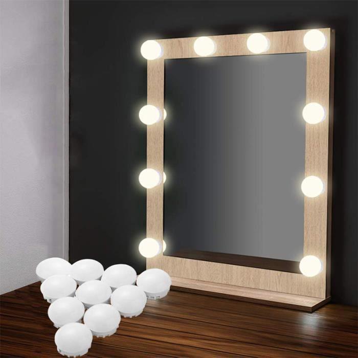 Hollywood Vanity Mirror Light 10 LED à Miroir de Vanité USB alimenté Luminosité Réglable pour Maquillage Table Salle de bains