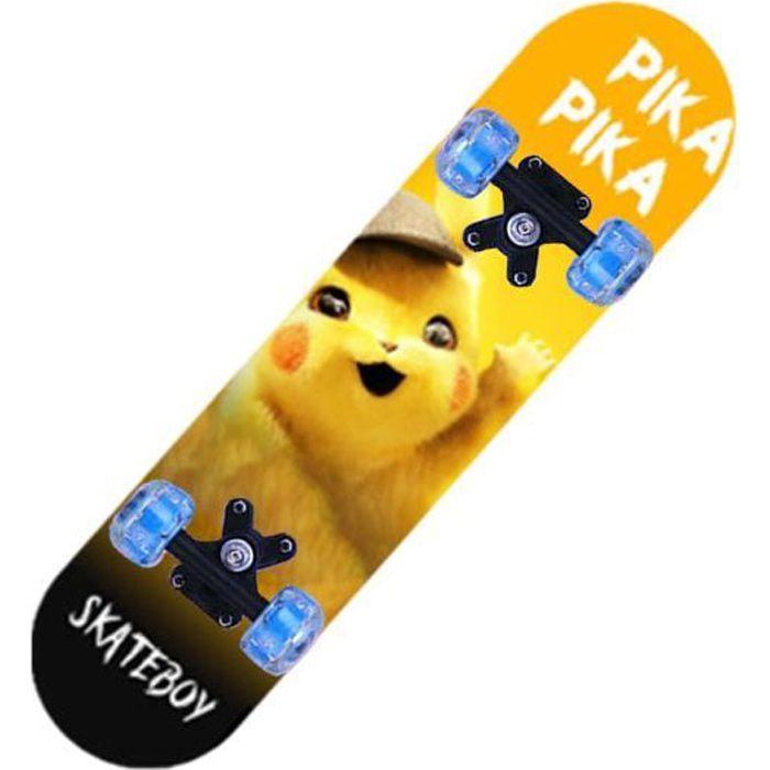 Skateboard débutants, avec éclairage de roue LED, adapté aux filles, garçons, adolescents, débutants-Pikachu
