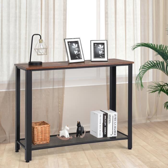 DREAMADE Table de Console à 2 Niveaux, Table d'Entrée avec Style Rétro et Industriel,Idéal pour Couloir, Salon, Entrée, Bureau, Noir