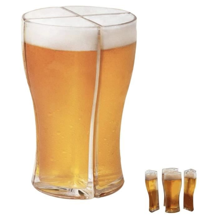 Mobukia Verres à bière, verre Super Schooner conçu pour vous permettre de transporter facilement 4 verres à bière à la fois
