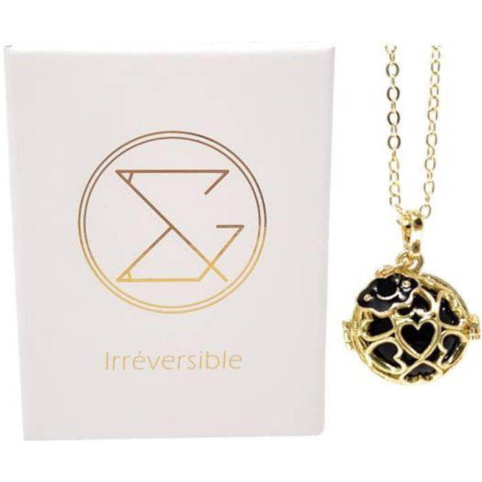 Bola de grossesse cage or avec chaîne - MIA (Nuage/bille noire) - plaquée or véritable - coffret cadeau femme enceinte