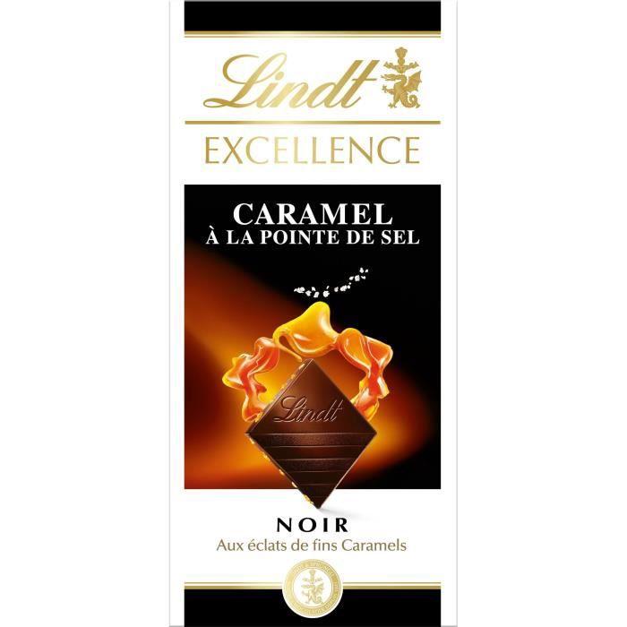 LINDT Tablette chocolat noir caramel salé - 100 g