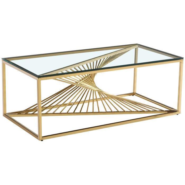 Table basse design en acier inoxydable poli doré et plateau en verre trempé transparent L. 120 x P. 60 x H. 45 cm collection