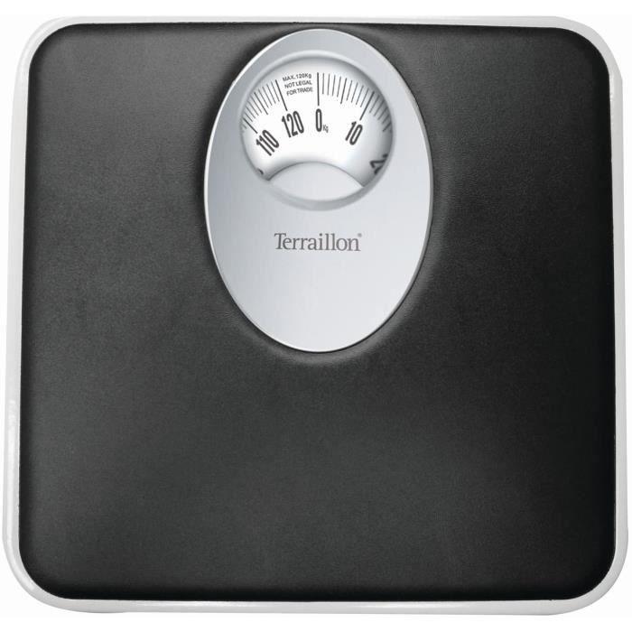 Terraillon Pèse Personne Mécanique, Grand Cadran Rotatif, 120kg, T61 - Noir - 25,5 x 25 x 5 cm