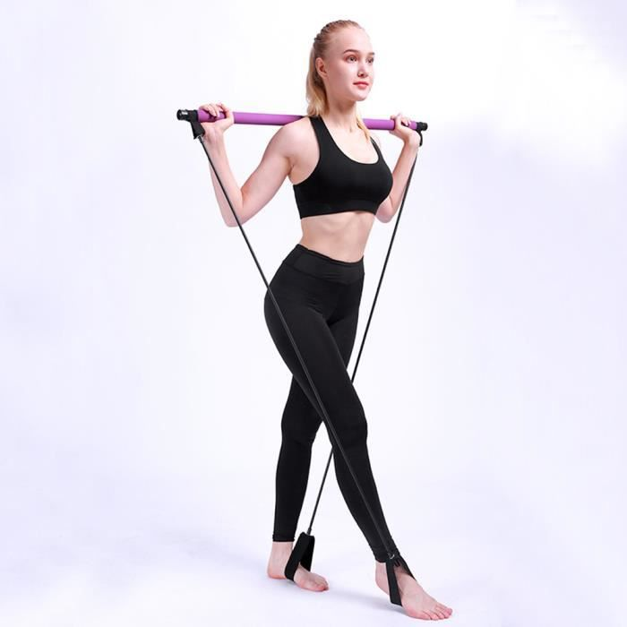 Yoga Pull Rods Portable Home Gym Body Toning Bar Fitness Rope Puller pour Pilates Exercice Violet