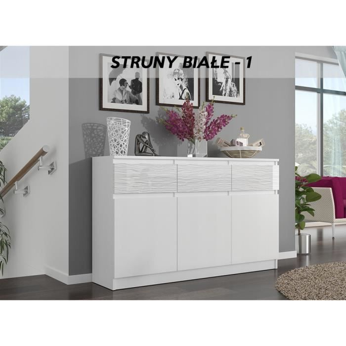 RIGA 1 - Commode chambre/salon/bureau 40x120x98 cm - 3 tiroirs + 3 portes - Meuble de rangement finition laquée - Buffet - Blanc