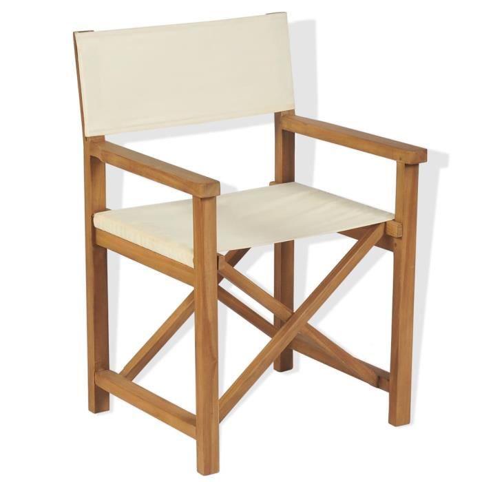 SOLDES-4521Chaise de jardin Chaise pliable de metteur en scène Fauteuil de Jardin Chaises de Camping Chic & Moderne Bois de teck sol